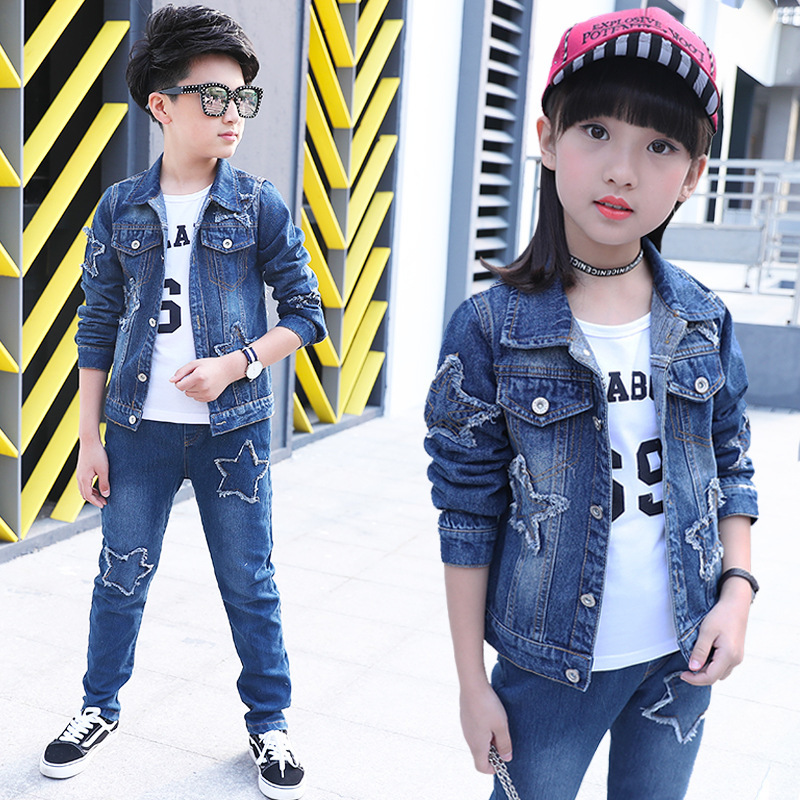 new fashion star pattern quality children's denim clothing boy girl jacket + shirt + pants fashion boys and girls general s new mf8 eitan s star icosaix radiolarian puzzle magic cube black and primary limited edition very challenging welcome to buy