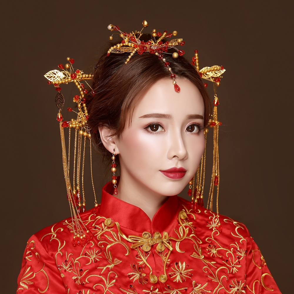 One Set Chinese Hair Jewelry Set Wedding Bridal Ancient Step Shakes Handmade Beads Headdress Hair Combs Sticks Costume Headwear 00009 red gold bride wedding hair tiaras ancient chinese empress hair piece