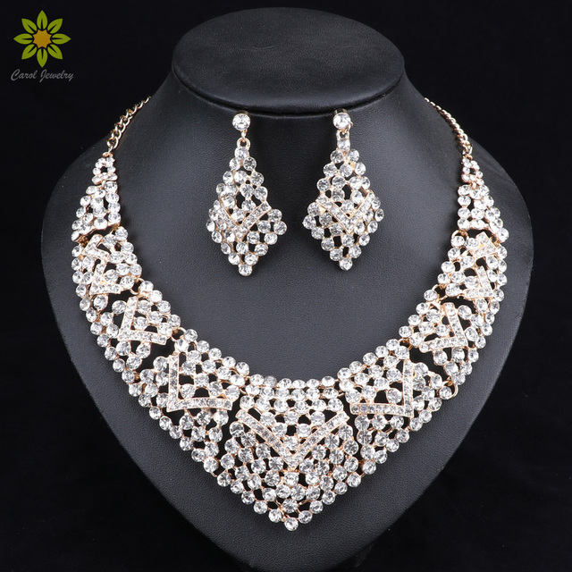 Fashion Jewelry Gold Color Crystal Rhinestones Necklace and Earrings Set  Women Bridal Wedding Jewelry Sets eabe7d3c3215