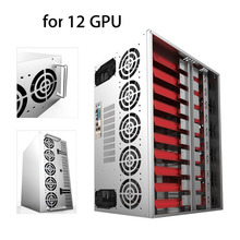 LESHP Crypto Coin Open Air Mining Frame Rig Graphics Case ATX Fit 12 GPU Ethereum ETH ETC ZEC XMR Magnalium Alloy With 10 Fans