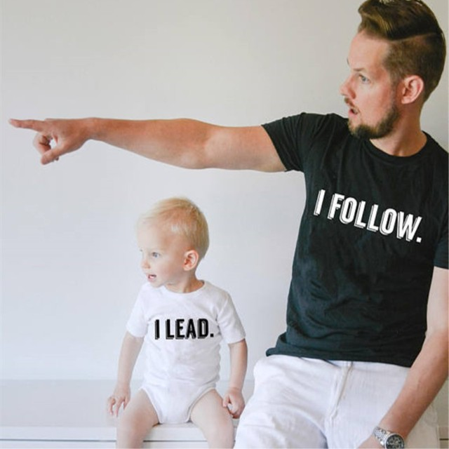 d805806221b Father Son Shirt I Lead I Follow Funny Family Matching T Shirts Family Look  Baby Rompers 100% Cotton Dad and Baby Son Clothes