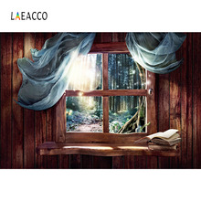 Laeacco Fairy Forest Wooden Wall Curtain Window Scene Photography Backgrounds Customized Photographic Backdrops For Photo Studio