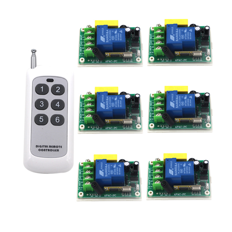 220v wireless remote control switch water pump motor controller 30a control board high power remote control switch 4088 6 pieces receiver 220v wireless remote control switch lamps water pump motor controller switch remote control switch