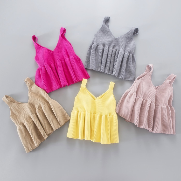 2017 Fall Autumn Baby Girls Knitting Sweater Children Personality Sweater Candy Color Kids Infant Baby Boutique Cotton Vest