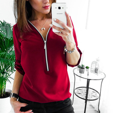 Zipper Short Sleeve Women Shirts Sexy V Neck