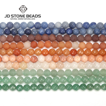 Natural Green Aventurine Frost Round Beads Blue Round Color Aventurine Size 4 6 8 10 mm Faceted Gemstone For Jewelry making aaa high quality natural genuine clear green blue apatite fluorapatite round loose gemstone beads 15 05722