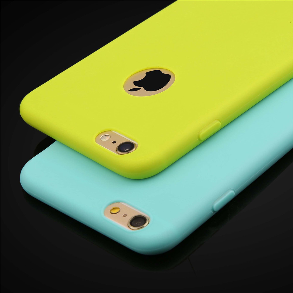 7 Candy Color Soft TPU Silicon Phone Cases For iphone 7 6 6s Plus SE 5 5s Case Ultra Thin Cover Cute Solid Colorful