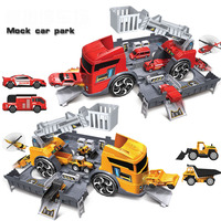 Deformation Fire Truck Engineering Vehicle Toys Parking Lot Storage Container Car Track Model Toys Puzzle Boys Christmas Gift