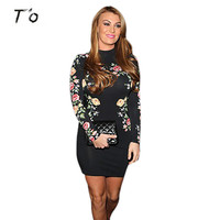 T O Women High Quality Spring Fall Black Floral Print Long Sleeve Stretchy Dresses Pencil Slim