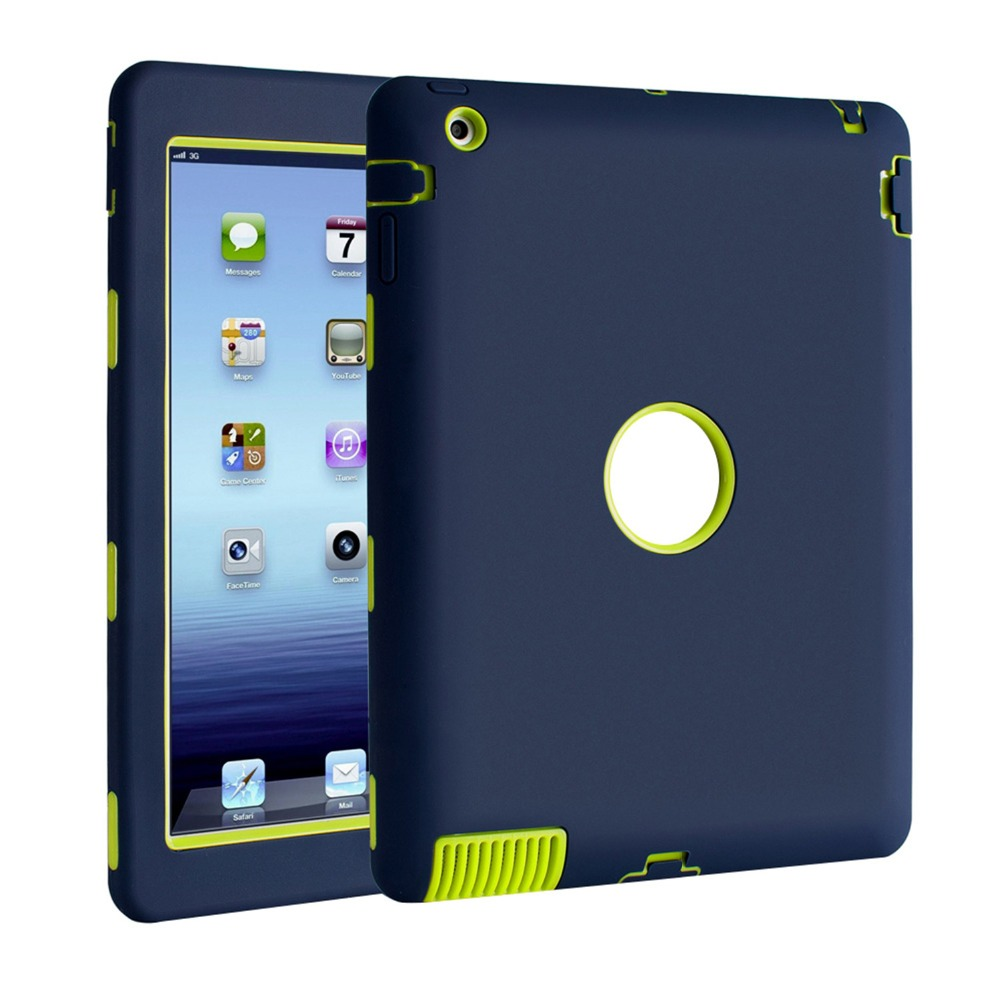 New 3D caso Para Apple iPad 2 iPad 3 iPad 4 Retina Safe Kids Armadura À Prova de Choque Heavy Duty Silicone Caso Capa Dura de proteção total