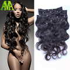 Sin procesar Clip en extensiones del pelo humano de la onda del cuerpo ondulado cabeza completa Clip Ins brasileño pelo de la virgen Clip en extensiones de cabello humano