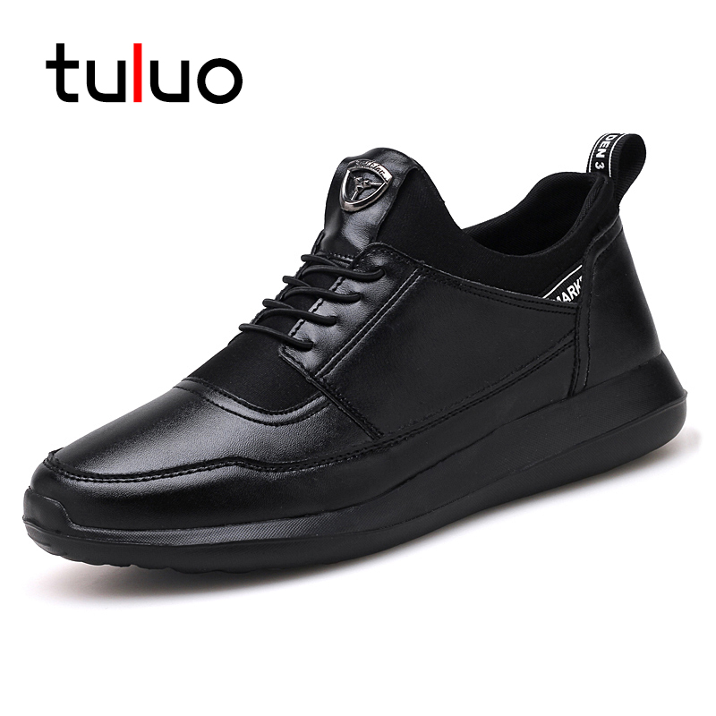 TULUO 2018 Brand Casual Shoes Men Spring and Autumn PU Leather Male Breathable Fashion Outdoor Walking Sneakers Slip on Trainers
