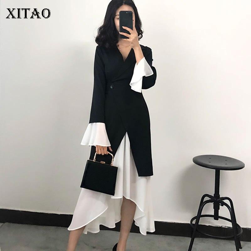 XITAO Celebrity Temperament Female Spring New Dress Korea Fashion Full Sleeve V neck Patchwork Button