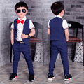 2016 New Children Suit Baby Boys Suits Kids Blazer Boys Formal Suit For Weddings Boys Clothes Set Kids Vest+Pants 2pcs 3-10Y
