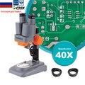 40X Binocluar стерео микроскоп Топ LED освещение телефон ремонт PCB паяльный инструмент широкое поле с окуляром