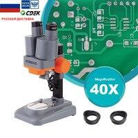 40X Binocluar Stereo Microscope Top LED Illumination Phone Repair PCB Solder Tool Wide Field With Eyepiece