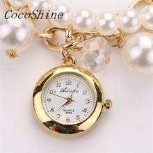 CocoShine A-733 Mulheres Pérola Artificial Strass Relógios de Quartzo Pulseira Wristwatche atacado Frete grátis
