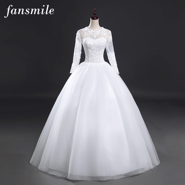 Fansmile Real Photo Long Sleeve Vintage Lace Wedding Dresses 2017 Plus Size Princess Bridal Ball Gowns