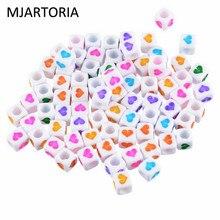 MJARTORIA 300PCs Random Mixed Beads White Heart Cube Acrylic Beads For Accessories Jewelry Making Women Needlework DIY