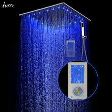 """Hm Intelligente Digitalanzeige Regen Brausegarnitur Installiert in wand 2 Jets LED 24 """"Regendusche Thermostat Touch Panel Mixer"""