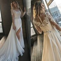 Лори свадебное платье es 2019 Иллюзия шифон с свадебное платье с аппликацией эластичный длинный рукав платье vestido de noiva Белый платья слоновой к