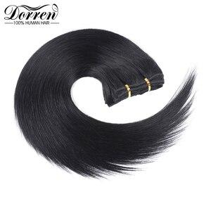 Image 2 - דורין 10 12 14 16 מלזיה קצר כפול ערב קליפ שיער טבעי הרחבות עבה 100% ישר שיער קליפ ב תוספות 7 pieces
