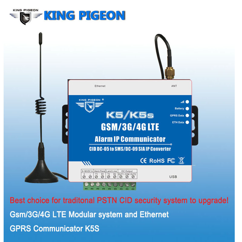 SMS/GPRS/Ethernet конвертер для PSTN Ademco ID контакта Управление панели sms-оповещения и SIA IP по ethernet/GPRS сети K5S