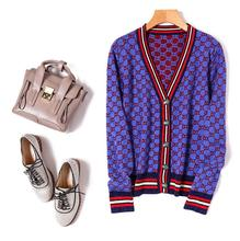 European and American women's wear 2017 Autumn new fund The color diamond pattern V collar metal button sweater cardigan