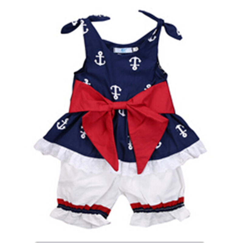 Baby Girl Clothes 2017 New Newborn Baby Girls Clothing Sleeveless Anchor Bow Cotton Tops Vest+Shorts Outfits Set Bebes Sunsuit 2pcs children outfit clothes kids baby girl off shoulder cotton ruffled sleeve tops striped t shirt blue denim jeans sunsuit set