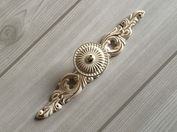 Shabby Chic Dresser Knob Pull Drawer Knobs Handles White Gold French  Kitchen Door Knobs Back Plate