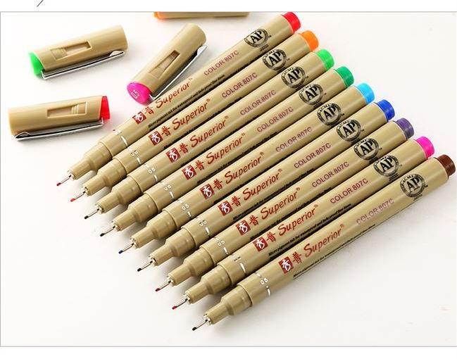 1pc cor diferente superior 05mm agulha linha de desenho micron caneta arte marcadores