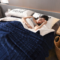 High quality solid color cashmere + flannel double sided blanket  winter thick warm blanket large size quilt blanket