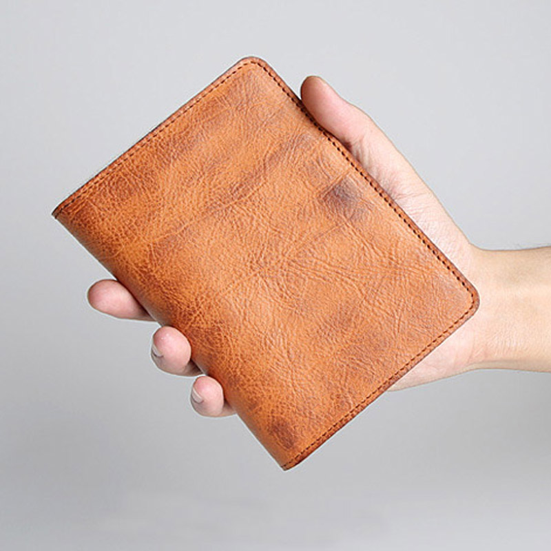 Genuine Leather Business Card Holder Retro Travel wallet Passport Holder Document Organizer Driver License Wallet for Men thinkthendo new male genuine cow leather wallet card package retro woven passport business cards holder