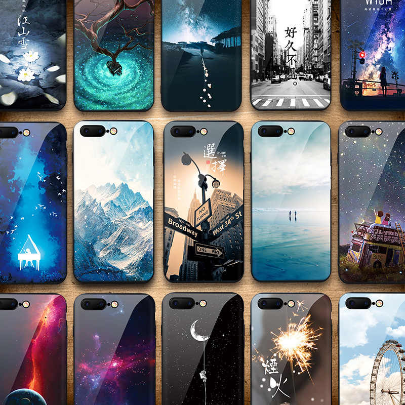 IIOZO Tempered Glass Phone Cases For iphone 7 8 6 6S plus Anti-knock Original Scenery Glass Back Cover for iphone 7 case
