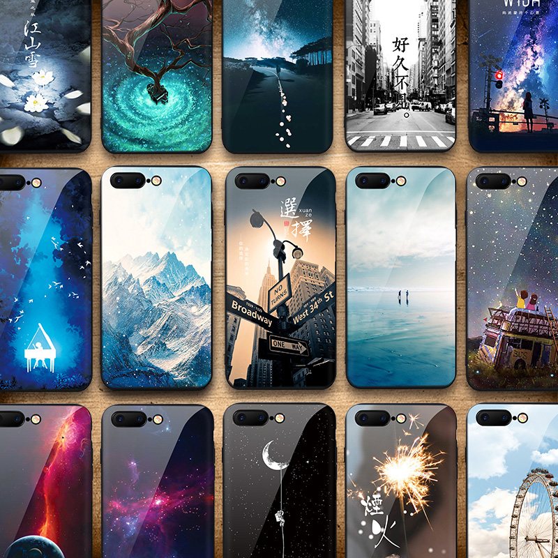 IIOZO Tempered Glass Phone <font><b>Cases</b></font> For <font><b>iphone</b></font> 7 8 6 <font><b>6S</b></font> plus Anti-knock <font><b>Original</b></font> Scenery Glass Back Cover for <font><b>iphone</b></font> 7 <font><b>case</b></font> image