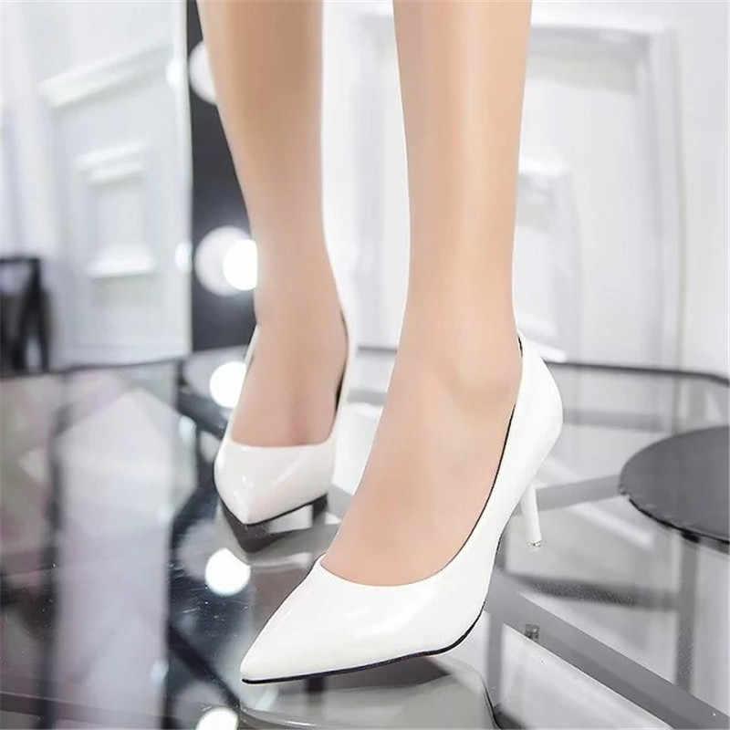 2019 Sexy Nữ Giày Nữ Đỏ Mũi Nhọn Bơm Bằng Sáng Chế Áo Da Giày Cao Gót Xuồng Giày Giày Cưới Zapatos Mujer 8 cm