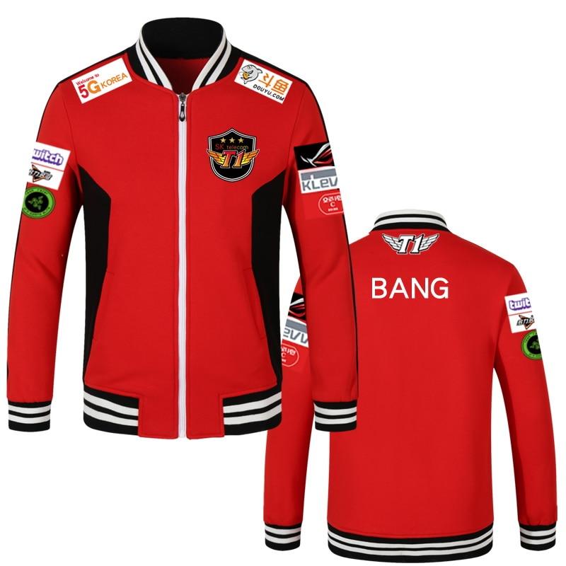Print Type!!!lol 2018 Lck Skt T1 S7 Team Jersey Sk Telecom T1 Jacket Sktt1 Baseball Coat Men Faker Jacket Peanut Bang Coats Pure And Mild Flavor Jackets