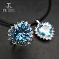 TBJ, Big Heart shape 12.5mm 17.5ct heart shape sky niebieski topaz zestaw biżuterii ze srebra próby 925 dobry wisiorek obrączka dla kobiet prezent