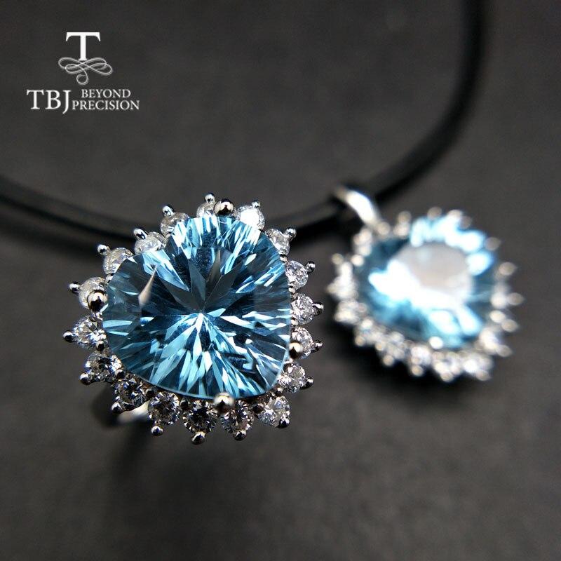TBJ, grand coeur forme 12.5mm 17.5ct coeur forme ciel bleu topaze bijoux ensemble en 925 argent bon faire anneau pendentif pour les femmes cadeau