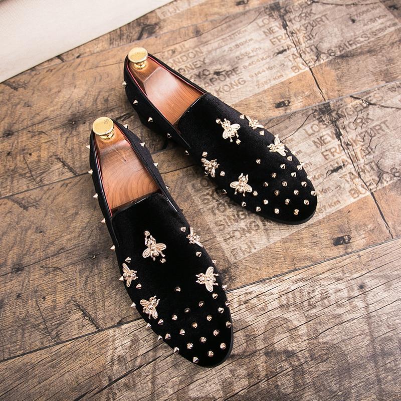 HTB1tcKfsL5TBuNjSspcq6znGFXa5 New Fashion Gold Top and Metal Toe Men Velvet Dress shoes Italian men's dress shoes Handmade Loafers
