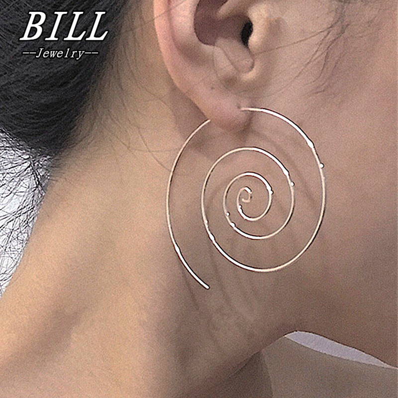 cd3d7b142 ES238 Spiral Stud Earrings Round aretes Simple Style Fashion Jewelry Plugs Earrings  Women Piercing Brincos Bijoux HOT Sale 2018