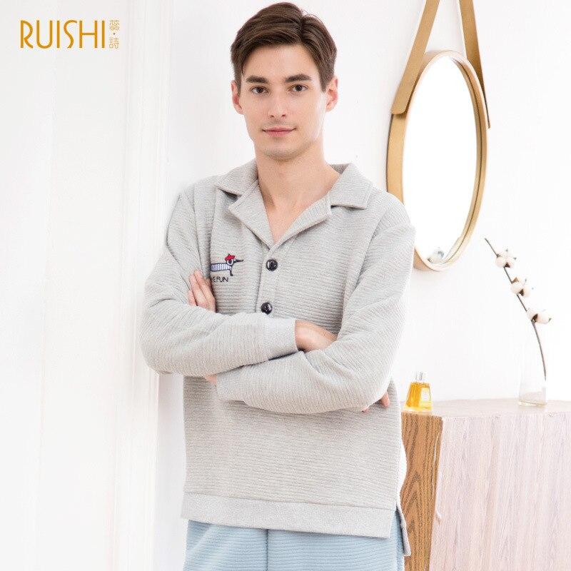 New 100% Cotton Couple Pajamas Suits Cotton Long Sleeves Warm 2 Pcs Pjs Set Men And Women's Home Wear Lounge Wear Brand Pijamas