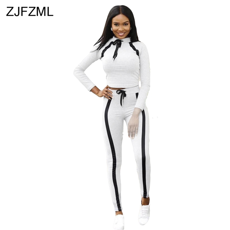 188552e0fe4ea ZJFZML Plus Size Sexy Two Piece Tracksuit Women O Neck Long Sleeve Bandage  Tops+Bodycon Pants Suits Black White Casual Outfits