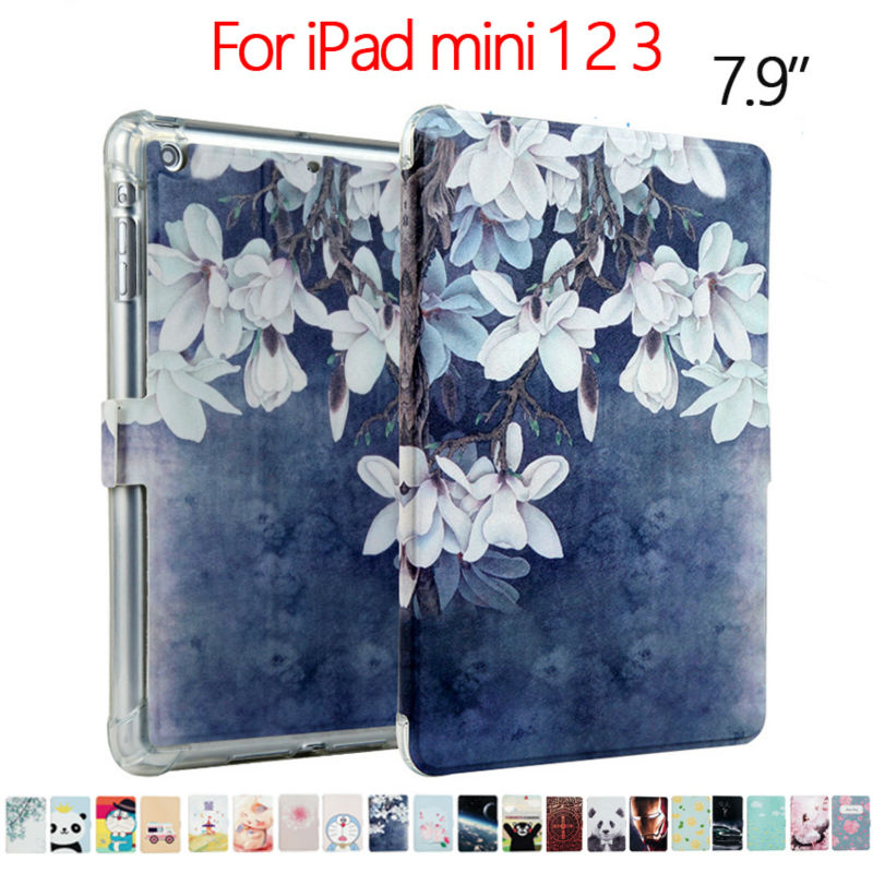 Colorful Print Stand Case For iPad mini 1 2 3 PU Leather Case 7.9'' Shockproof Slim Tablet Cover Fundas For Apple iPad mini 2 3 for ipad mini