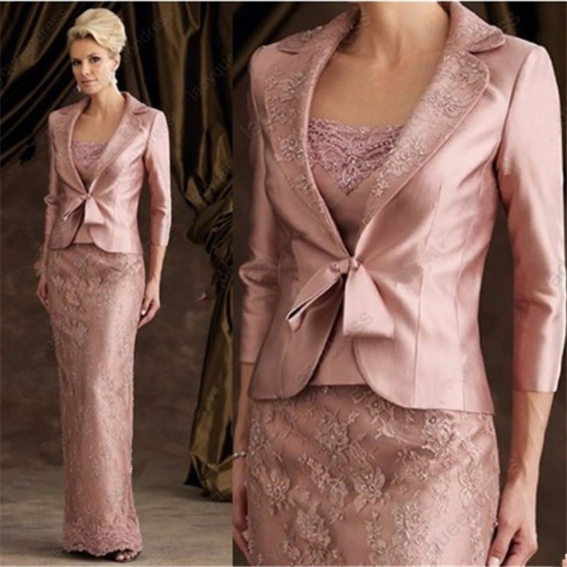 Mother of the bride dress with jacket floor length wedding for Dress and jacket for wedding guest