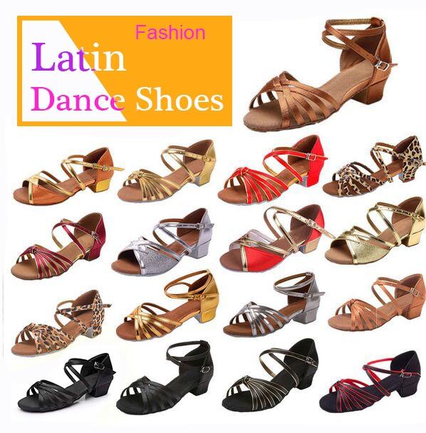 Ballroom Salsa tango latin dance font b shoes b font low heels dancing for kids girls