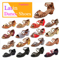 Ballroom Salsa tango latin dance shoes low heels dancing for kids girls children  women ladies free shipping in stock