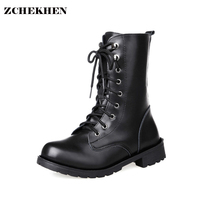 2017 New Black Leather Martin Boots Ankle Boots Women Shoes Flat Round Toe Motorcycle Boots Military