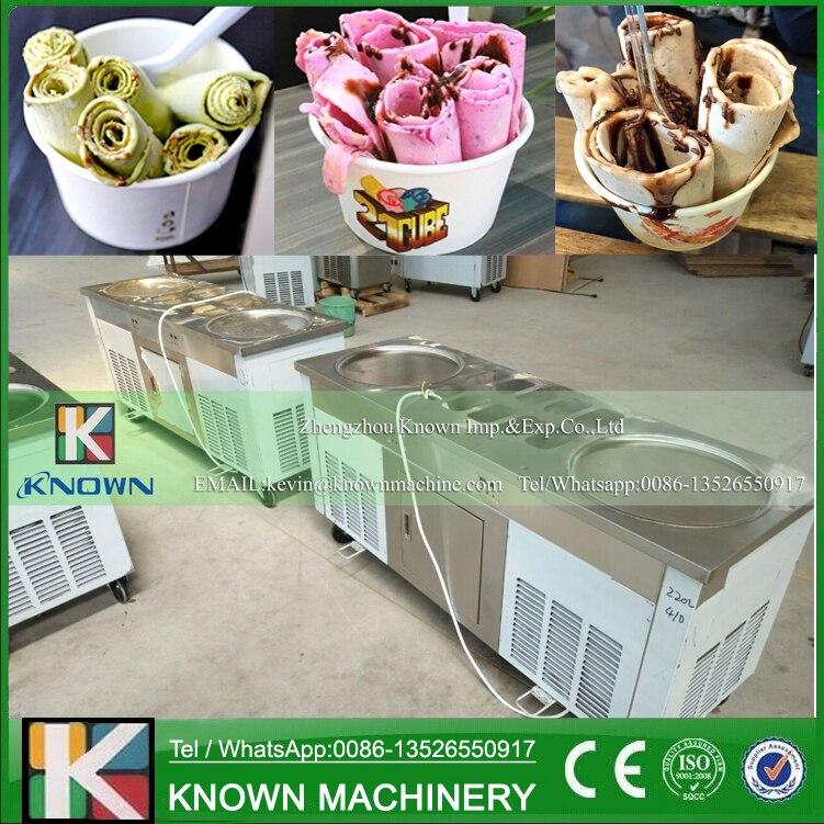 Le réfrigérant R404A/R410A de casseroles rondes doubles et 10 réservoirs alimentaires thaïlande friture machine à crème glacée