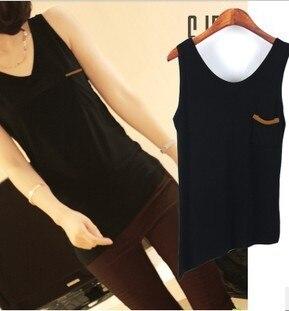 Fashion all-match V-neck medium-long solid color slim sleeveless pocket small vest basic spaghetti strap basic